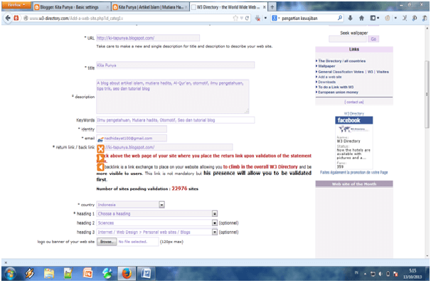 Cara Mendapatkan Backlink berkualitas dari W3 Directory