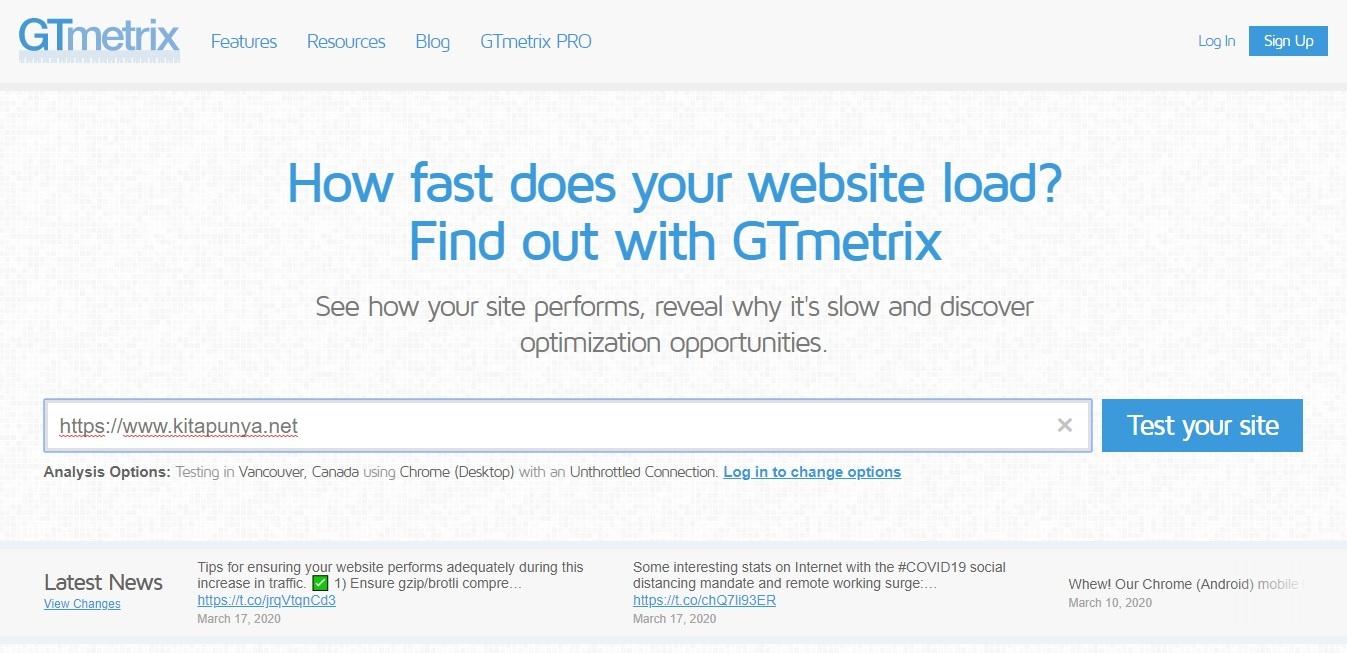 gt metrix cek kecepatan website