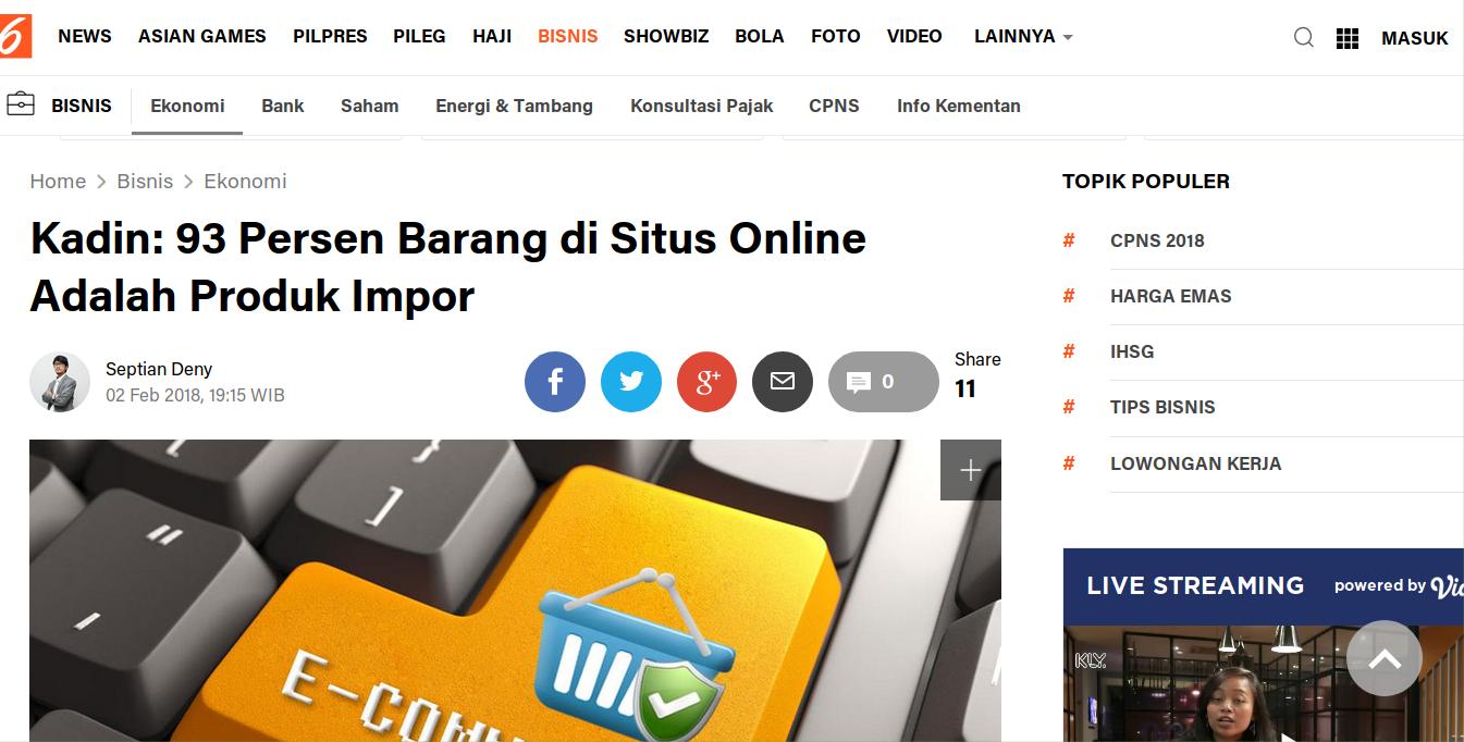 93 % Barang di Situs Online adalah Produk Impor