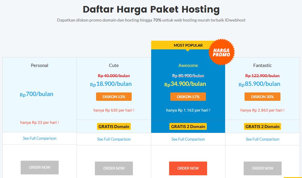 Paket Web Hosting IDwebhost.com