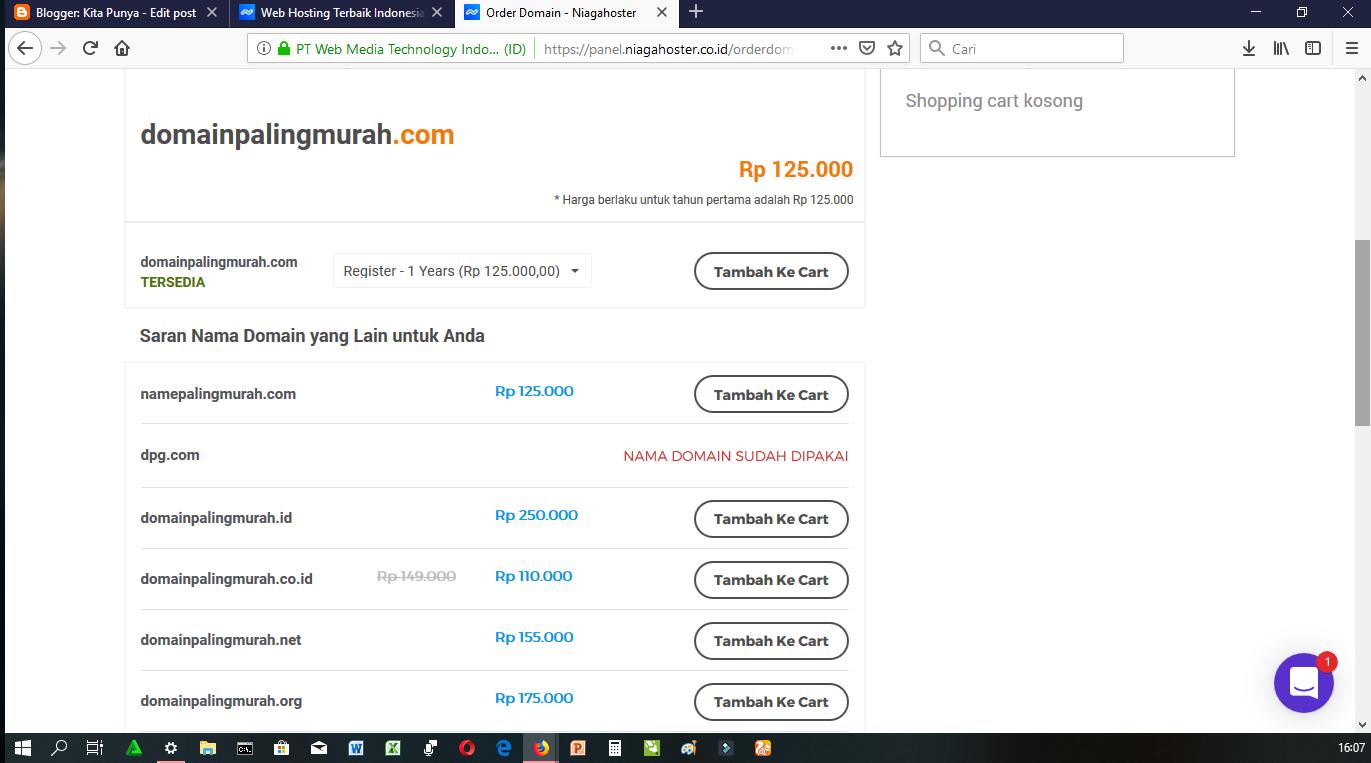 Domain Murah di Niagahoster.co.id