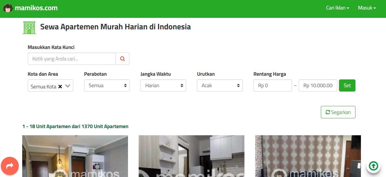 Cari apartemen di mamikos.com