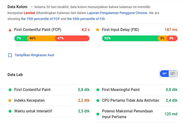 Hasil analisis kecepatan website