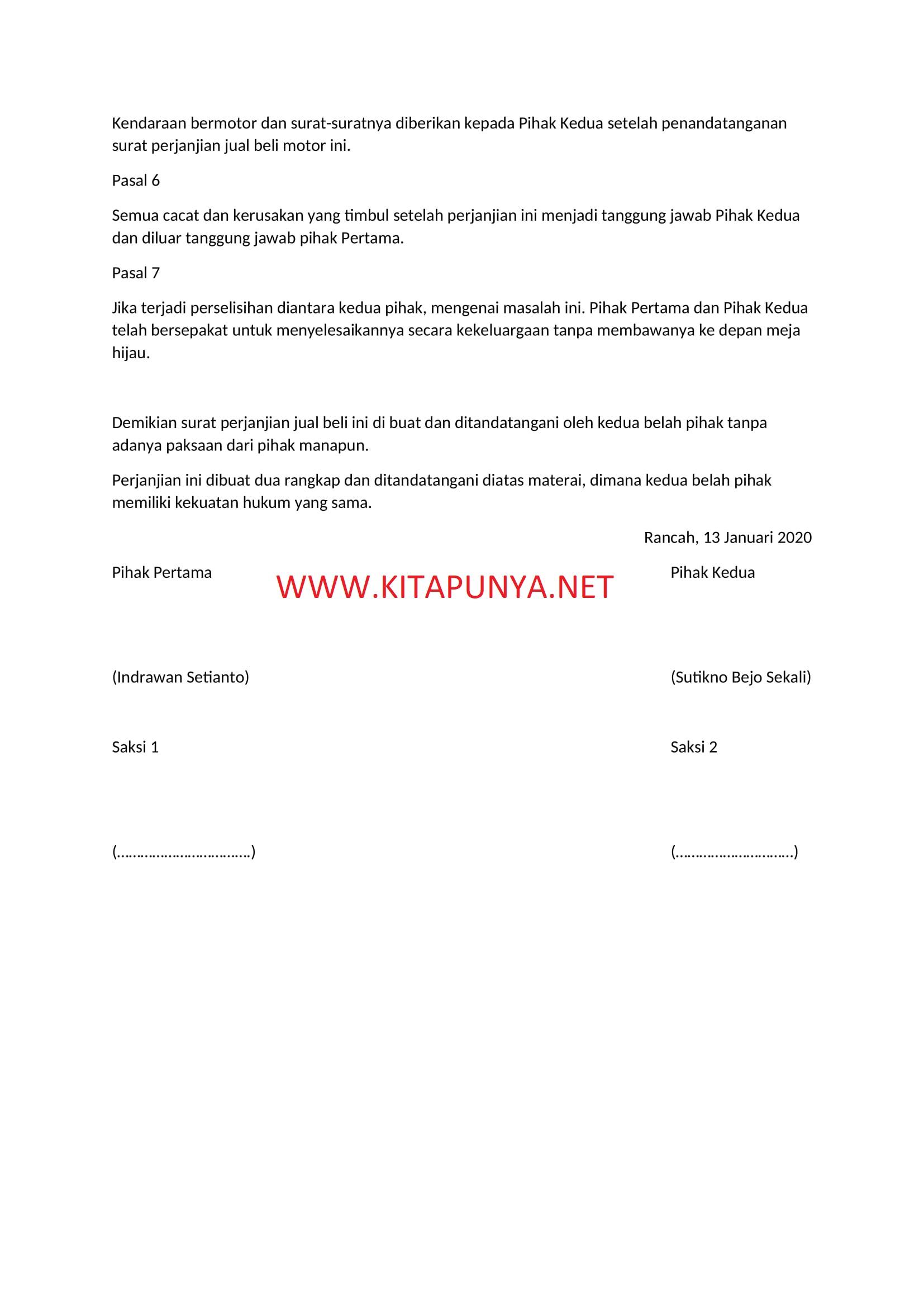 surat perjanjian beli motor sederhana