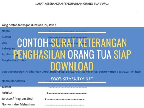 download contoh surat keterangan penghasilan orang tua