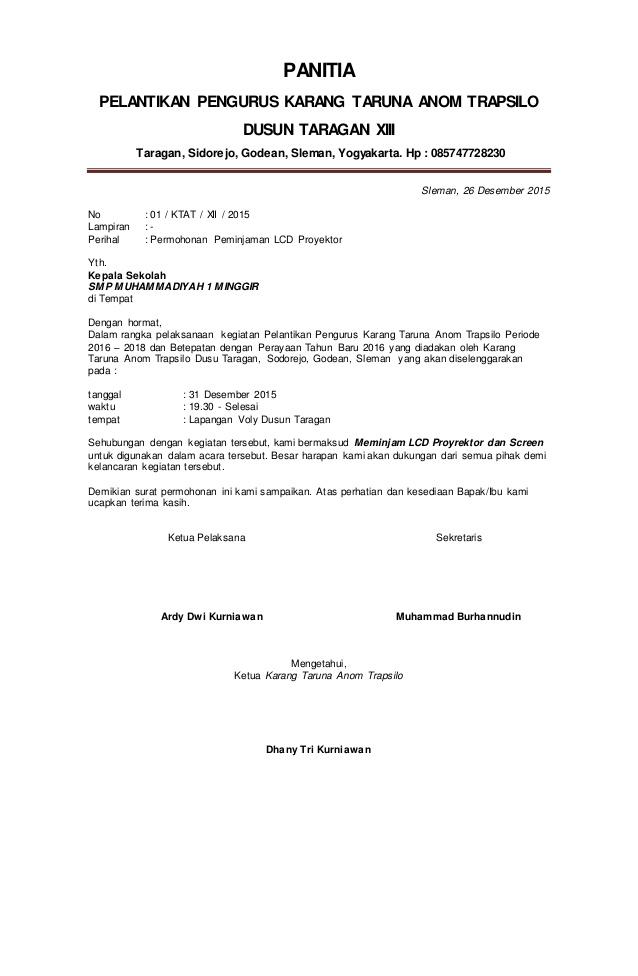 surat peminjaman lcd proyektor