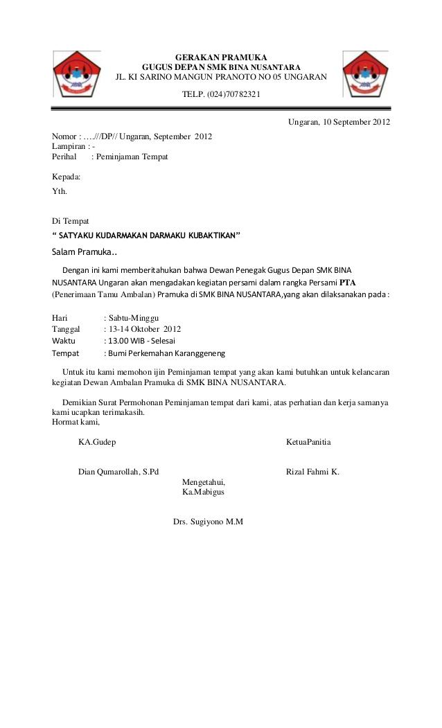 contoh surat peminjaman tempat untuk kemah
