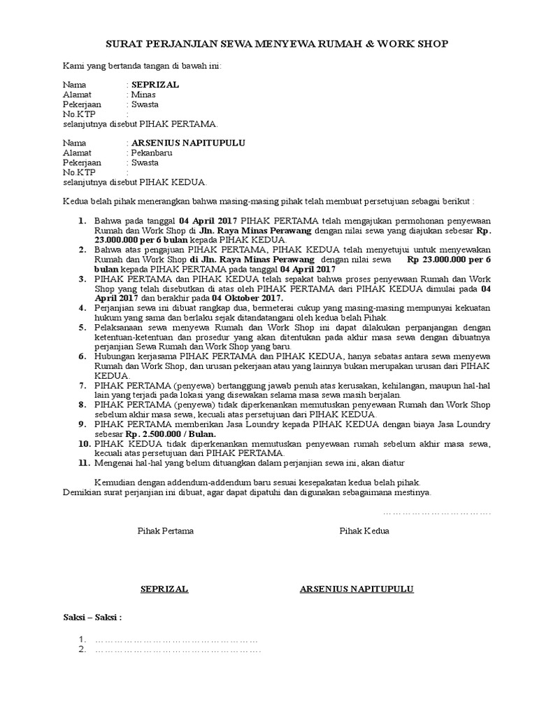 Surat perjanjian sewa rumah dan workshop