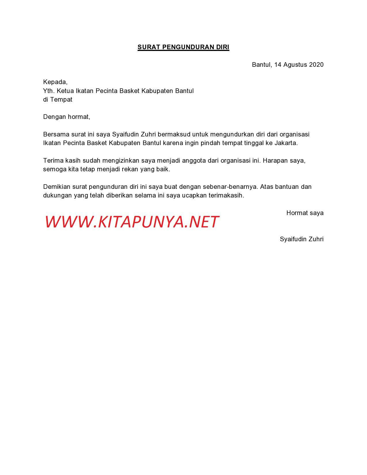 9 Contoh Surat Pengunduran Diri dari Organisasi Format ...