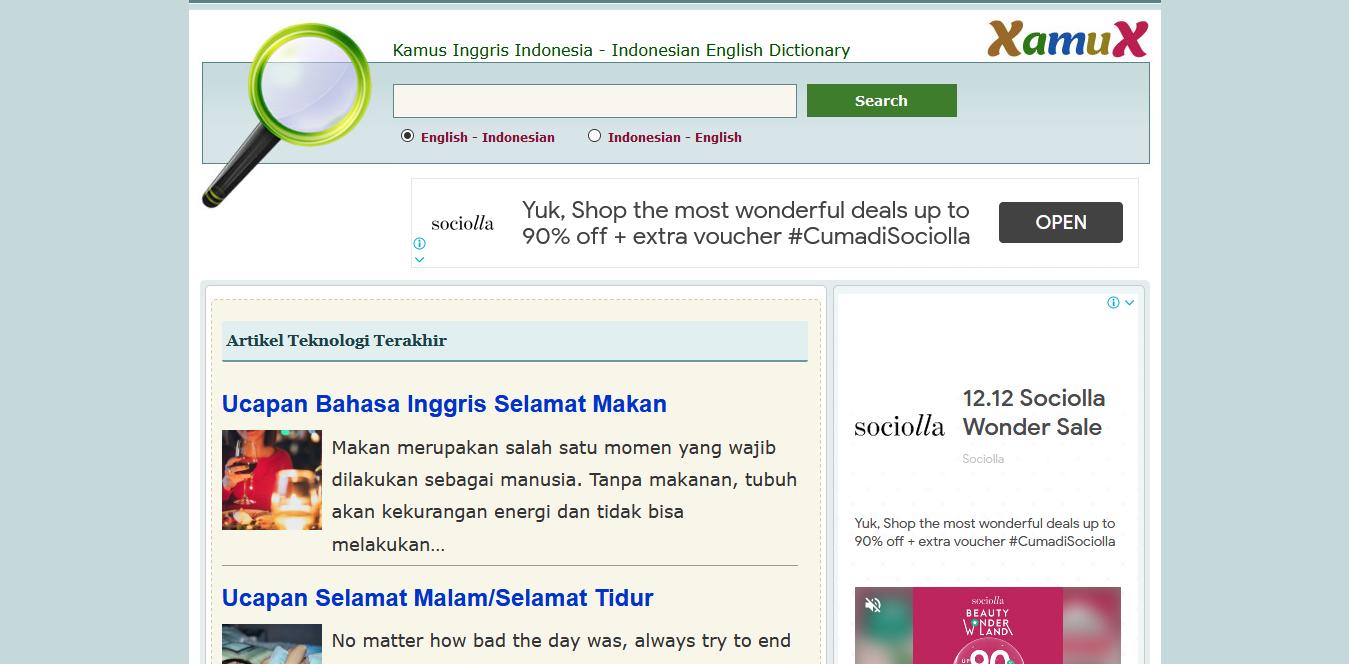 xamux - kamus indonesia inggris